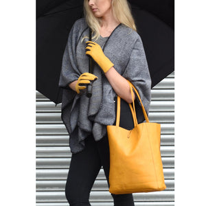 Faux Leather Tote Bag Mustard