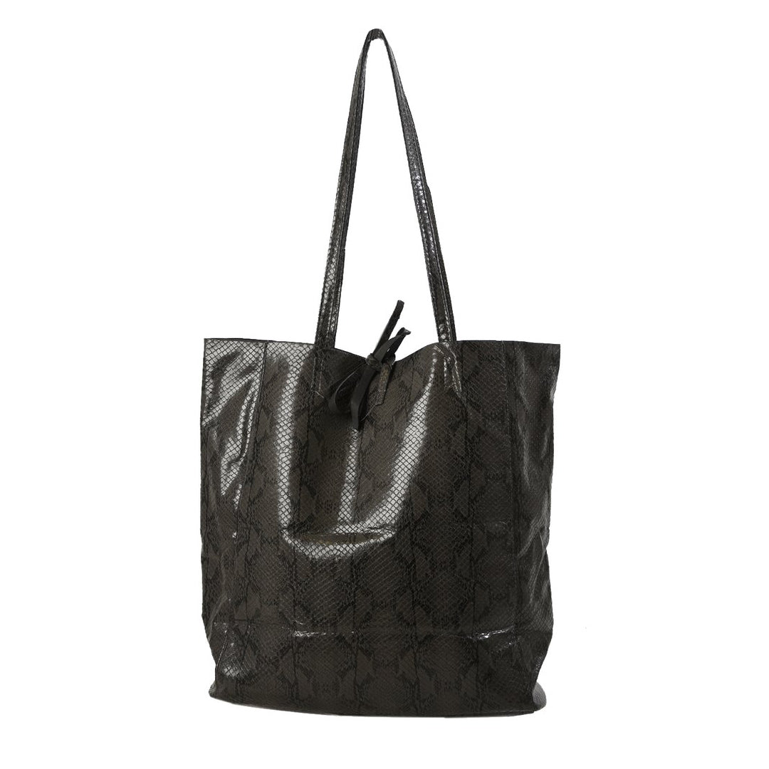 Faux Snakeskin Tote Bag Graphite Grey