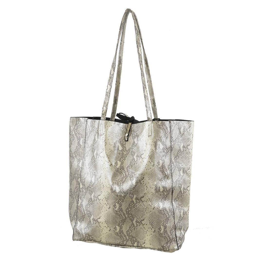 Faux Snakeskin Tote Bag Champagne