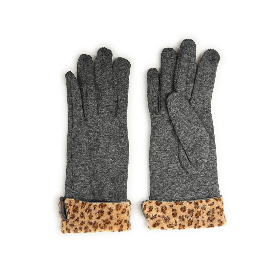 Leopard Trim Gloves Grey