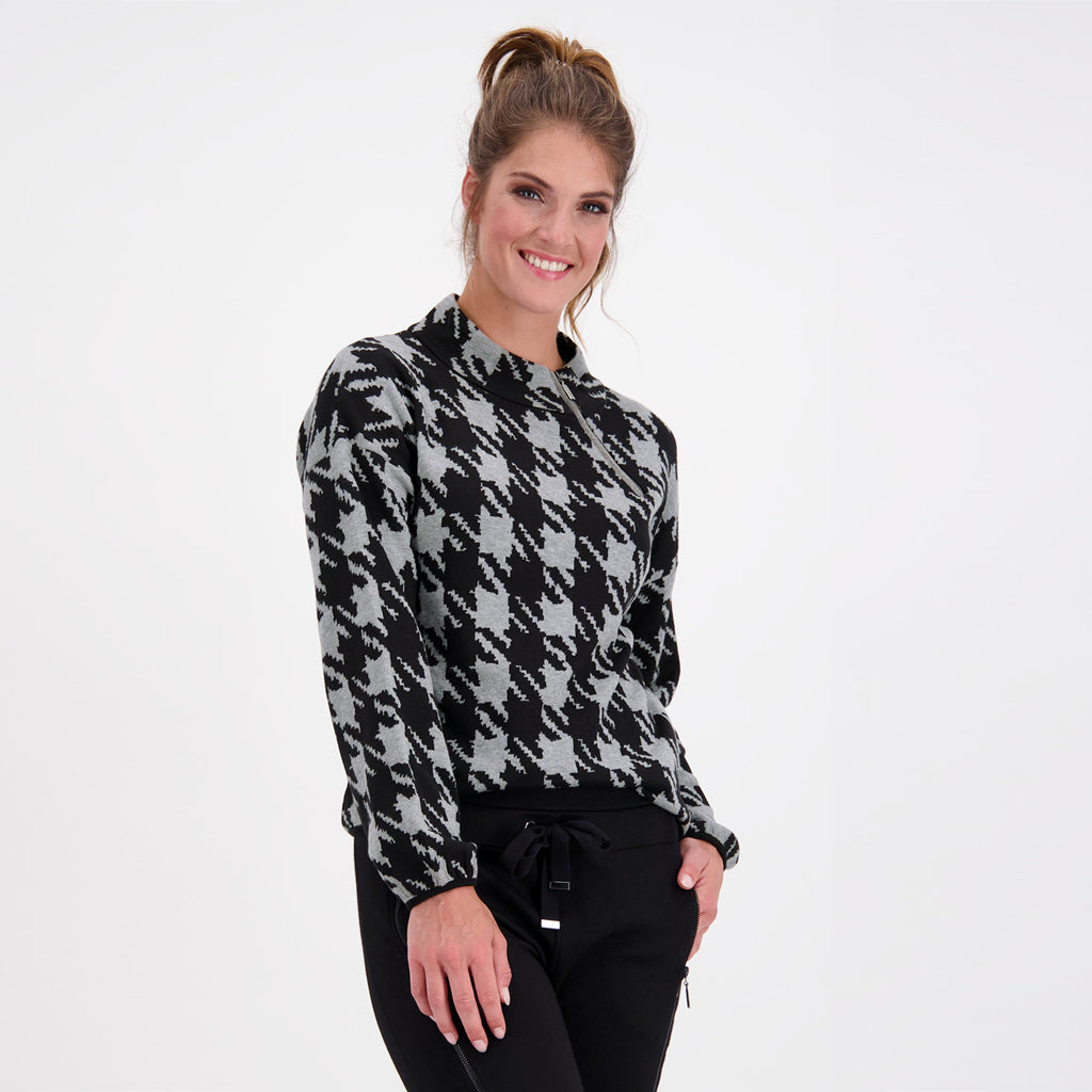 Monari High Neck Sweater Koala Houndstooth