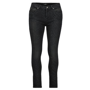 Monari Jeans with Zebra Print Black