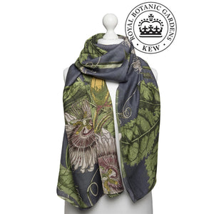 One Hundred Stars Kew Gardens Passion Flower Grey Scarf