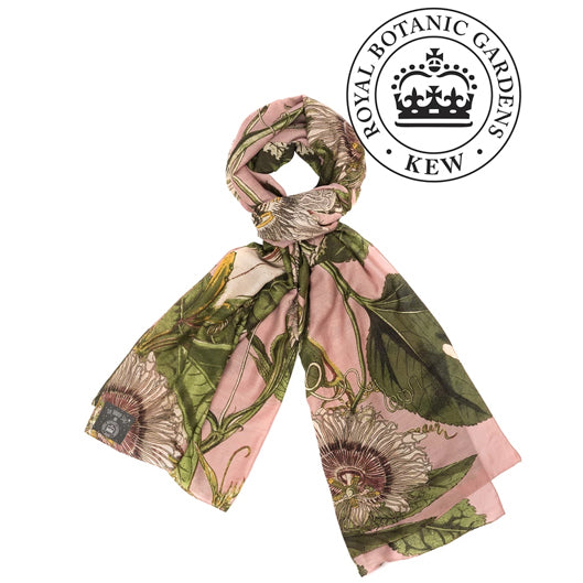 One Hundred Stars Kew Gardens Passion Flower Pink Scarf