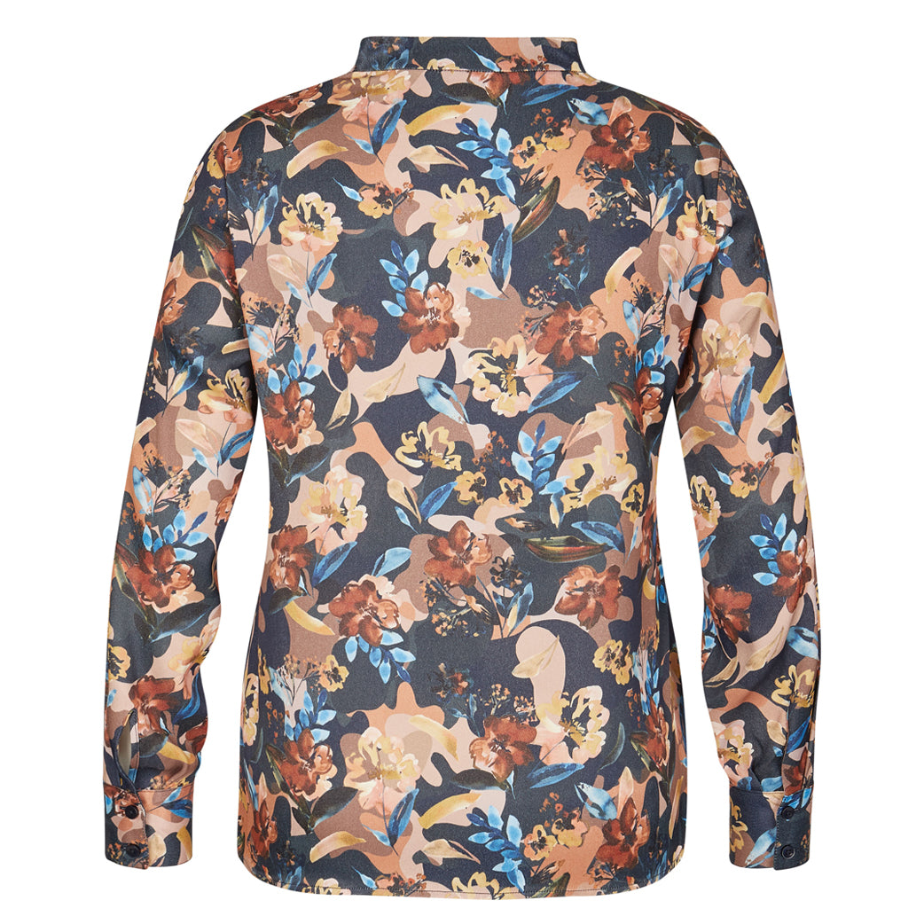 RABE Long Sleeve Floral Blouse Cognac
