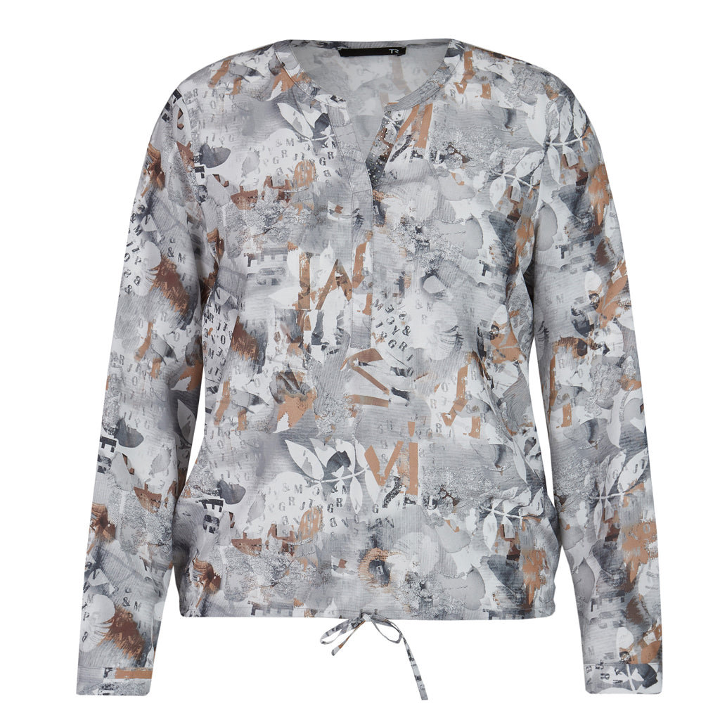RABE Long Sleeve Silver Print Blouse