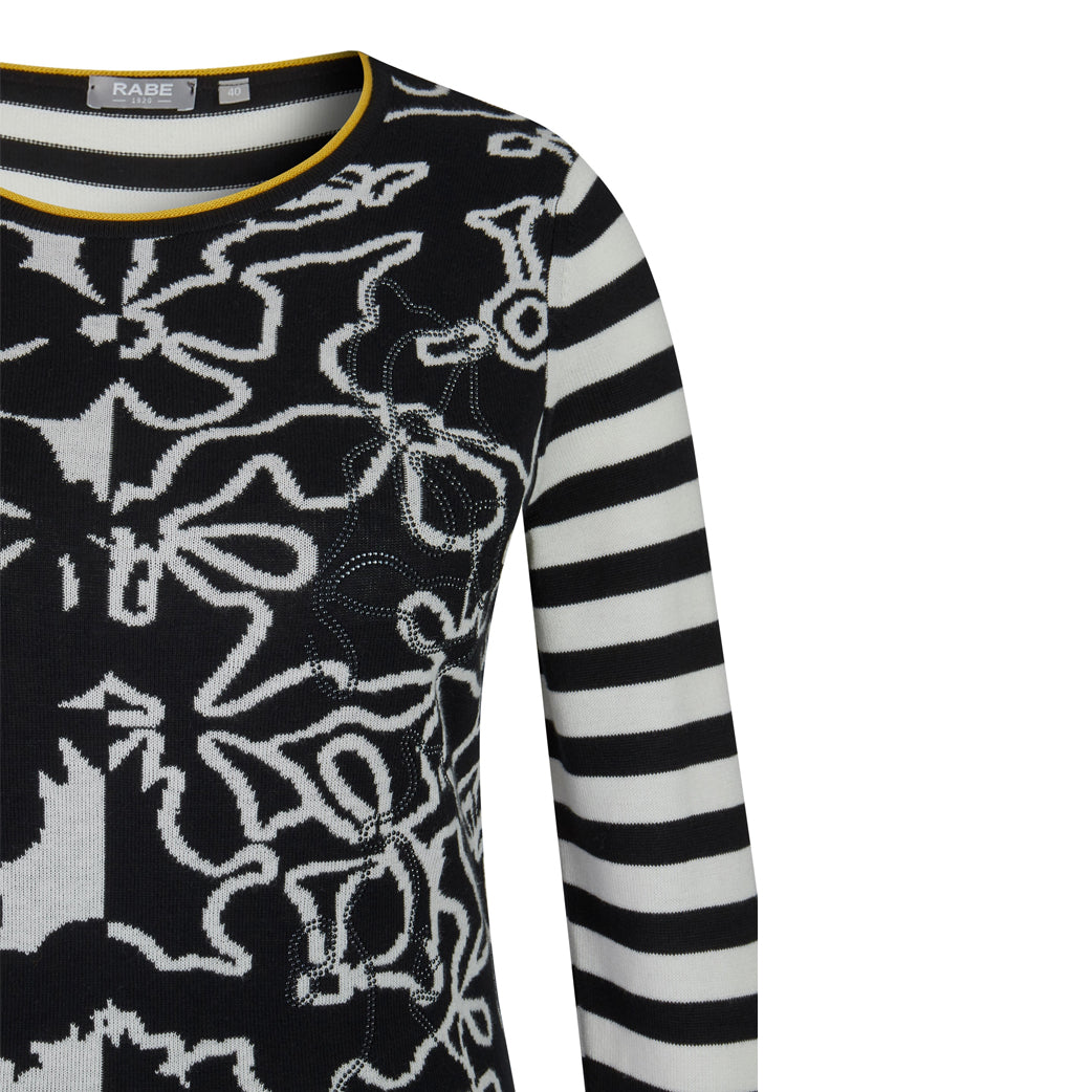 RABE Striped and Floral Sweater Black