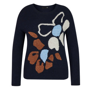 RABE Long Sleeve Round Neck Sweater Marine
