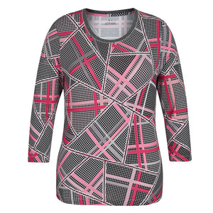 RABE Three Quarter Sleeve Top Fuchsia
