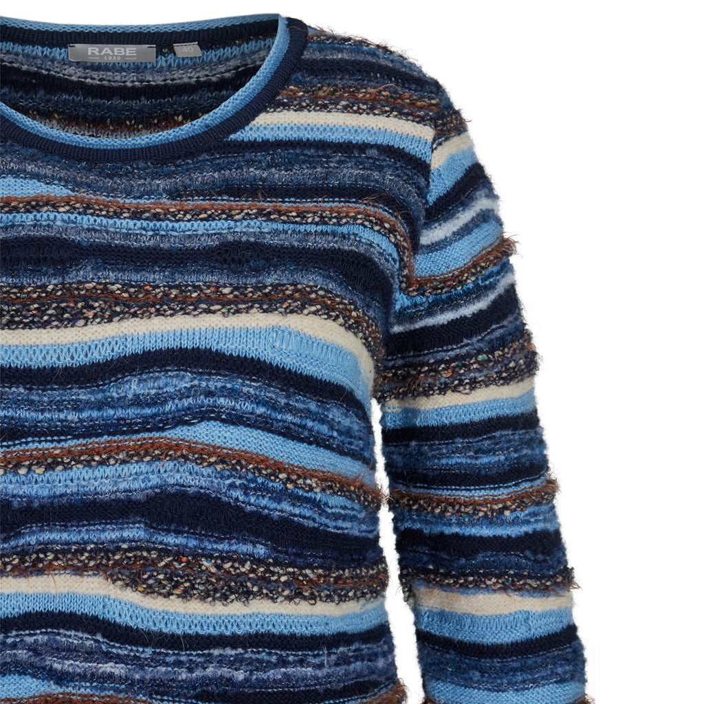 RABE Round Neck Striped Sweater Blue