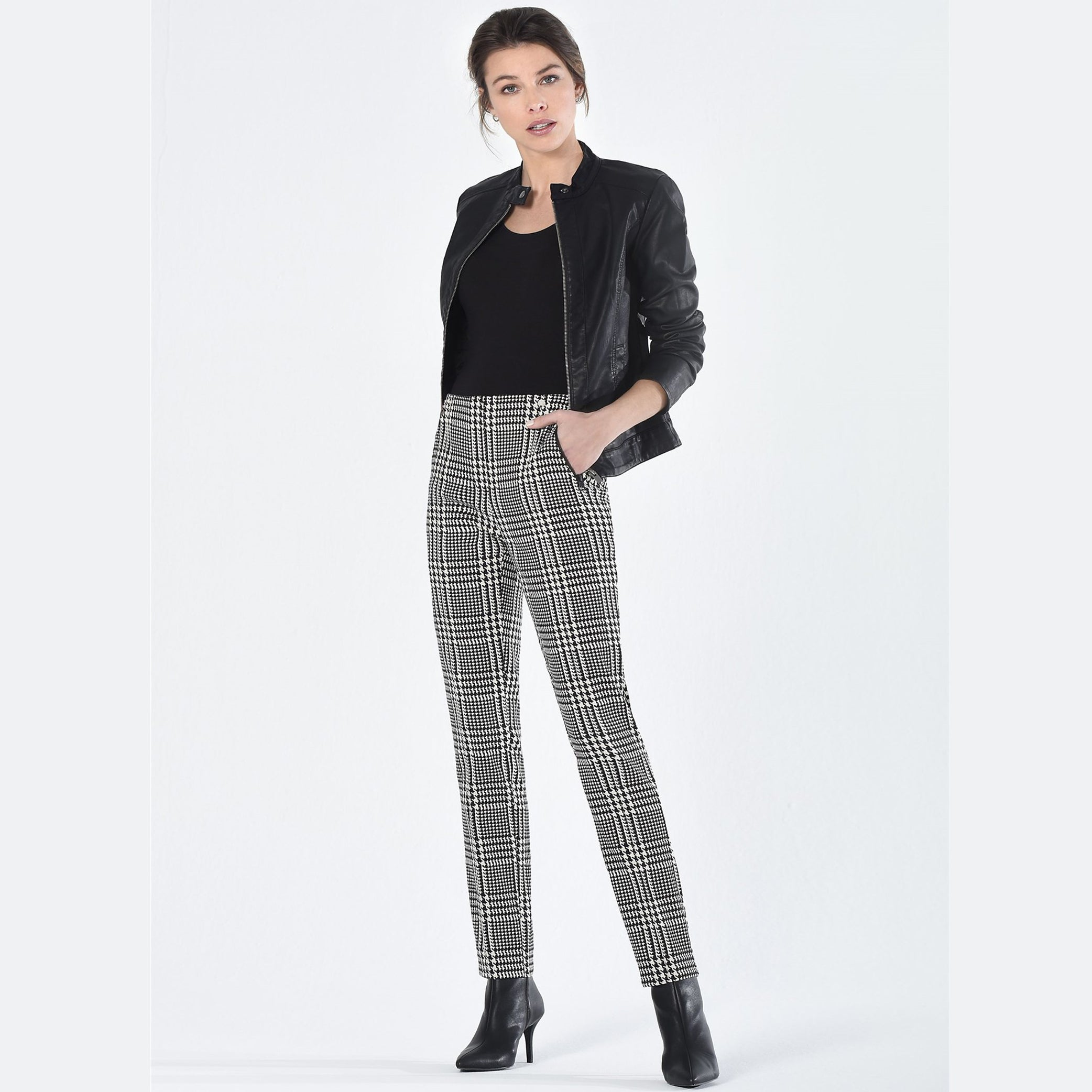 Robell Holly Trousers Black & White Check