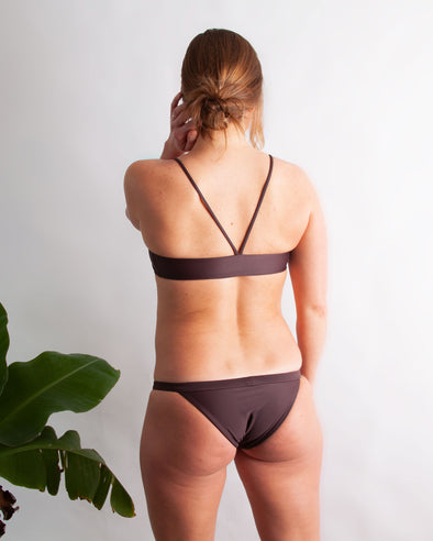 low rise banded brown swim bottom