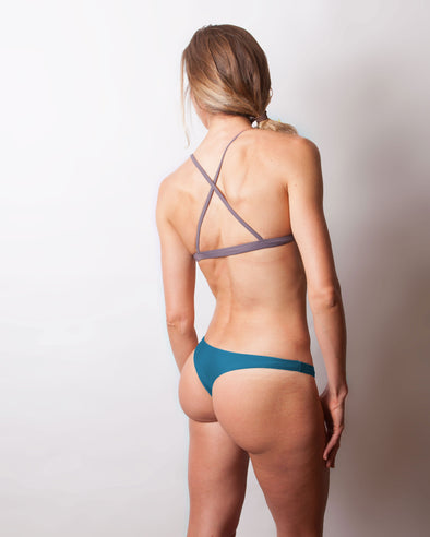 dark teal cheeky high sides bikini bottom