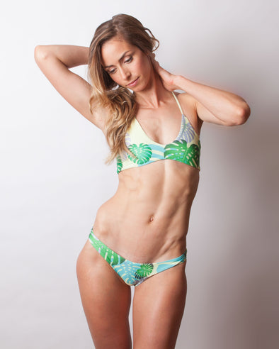 tropical monstera bralette bikini top