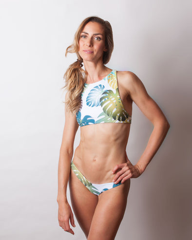 tropical monstera high neck seamless bikini top