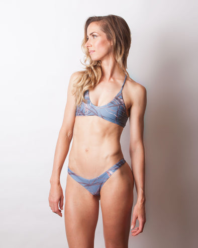 blue print high side seamless cheeky bikini