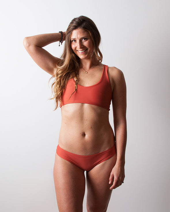living coral red scoop surf bikini top