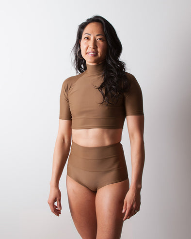 brown crop rashguard surf top