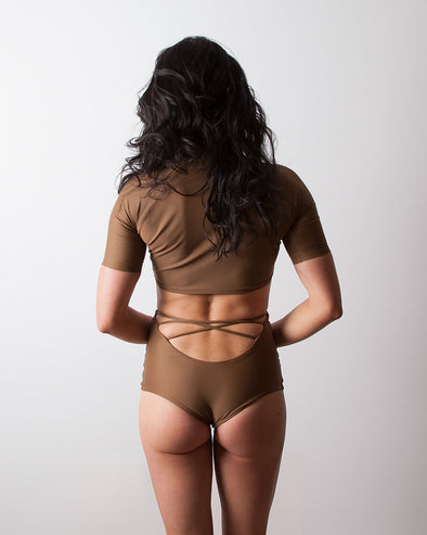 brown high waist surf bikini bottom