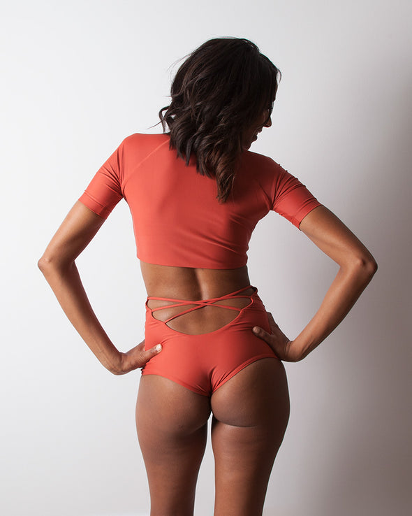 terracotta high waist surf bikini bottom