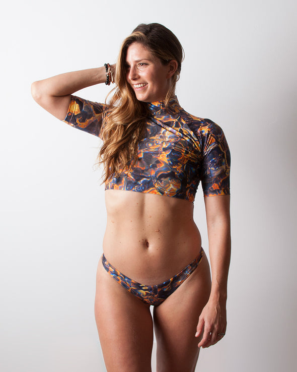 multicolour lava crop rashguard surf top