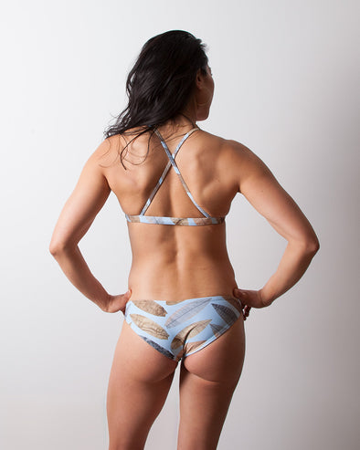 herringbone blue seamless cheeky surf bikini bottom