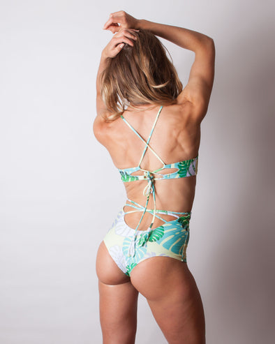 tropical monstera leaf high waist bikini bottom