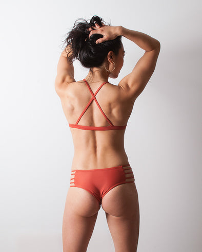 terracotta strappy cheeky surf bikini bottom