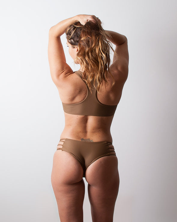 brown strappy cheeky surf bikini bottom