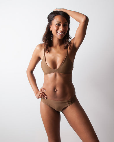 brown adjustable halter bikini top