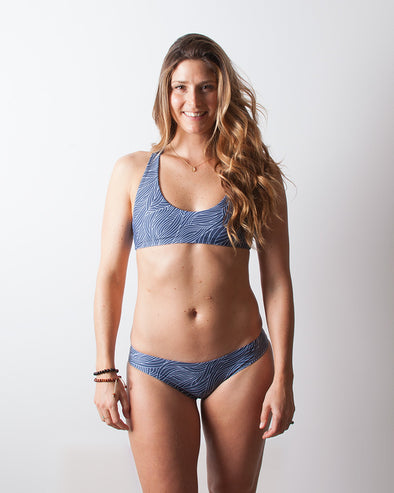 sea grass blue seamless cheeky surf bikini bottom