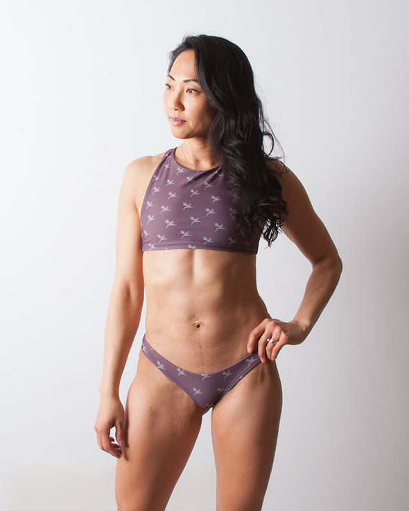 birds of paradise purple surf bikini top