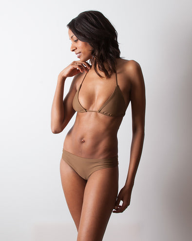 brown sliding triangle bikini top