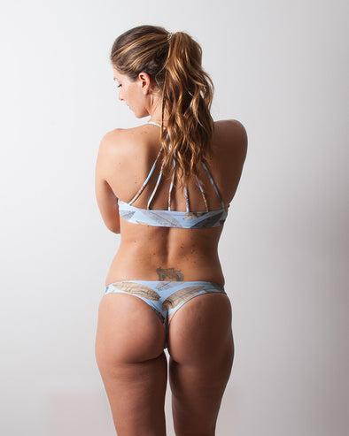 herringbone blue slim cheeky surf bikini bottom