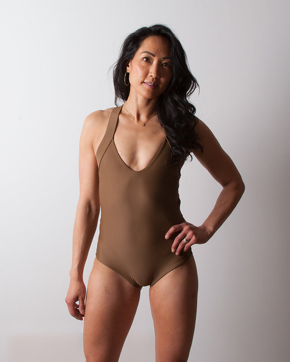 brown seamless one piece surfsuit