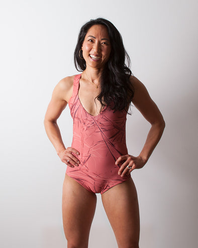 living coral red seamless one piece surfsuit