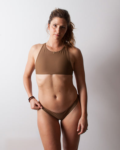 brown high neck surf bikini top