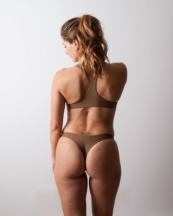brown slim cheeky surf bikini bottom