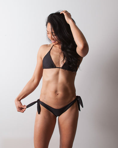black seamless sliding triangle bikini top