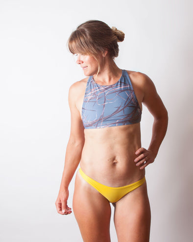 blue grassy high neck seamless racer back surf top