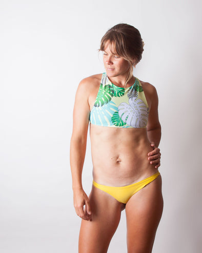 tropical monstera high neck seamless surf top