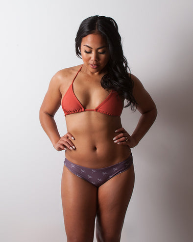 purple wide sides seamless cheeky surf bikini bottom