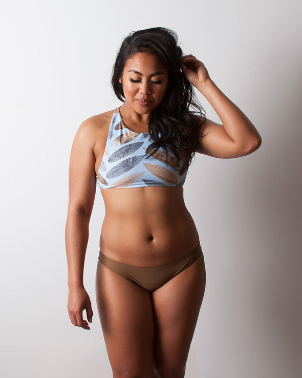 surf herringbone high neck surf bikini top
