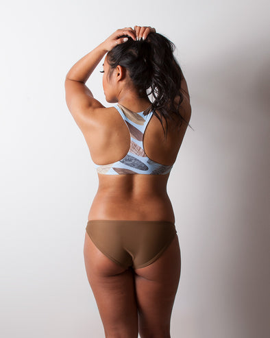 brown full coverage seamless surf bikini bottom