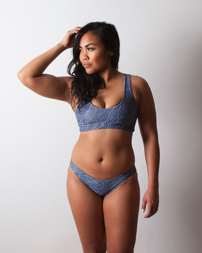 sea grass blue full coverage seamless surf bikini bottom