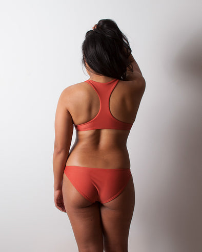 terracotta full coverage seamless surf bikini bottom