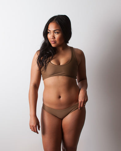 brown scoop sporty surf bikini top
