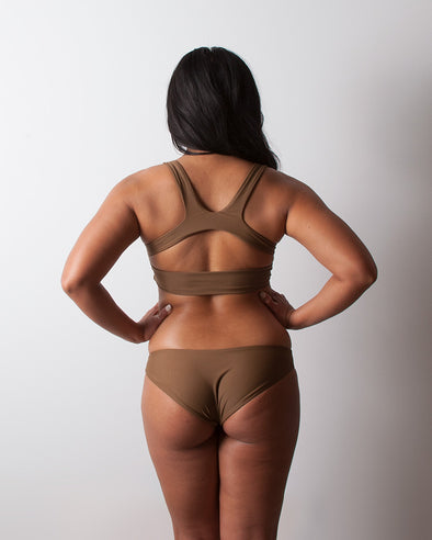 brown seamless cheeky surf bikini bottom