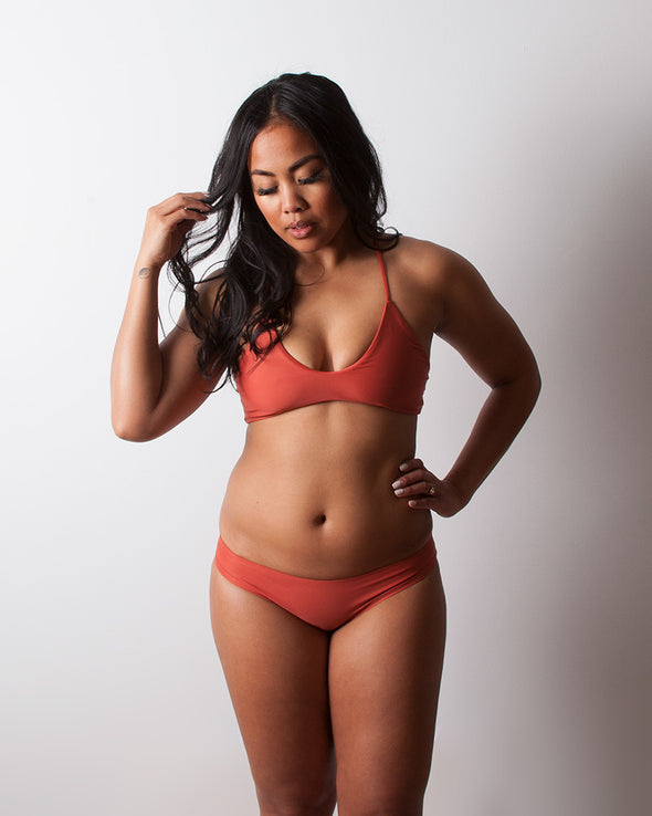 terracotta strappy surf bikini top
