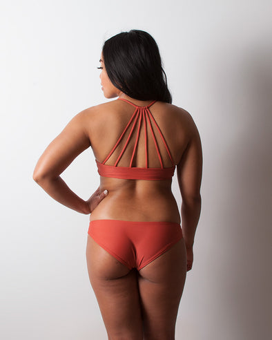 terracotta red seamless cheeky surf bikini bottom